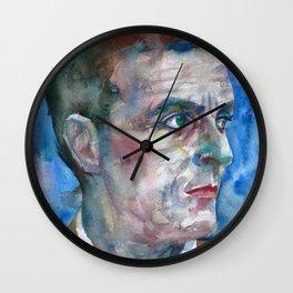 LUDWIG WITTGENSTEIN watercolor portrait.5 Wall Clock