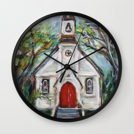 Little cute whimsical church chapel red doors painting Wall Clock