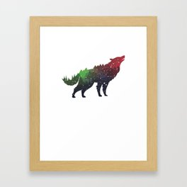 Wolf Double Exposure Woods Water Color Framed Art Print