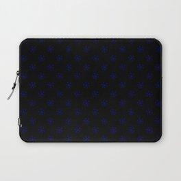 Navy Blue on Black Snowflakes Laptop Sleeve