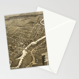 Vintage Pictorial Map of Claremont NH (1877) Stationery Cards