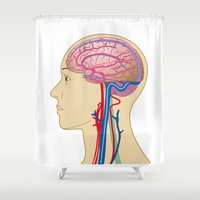 brain Shower Curtains featuring Brain by FACTORIE