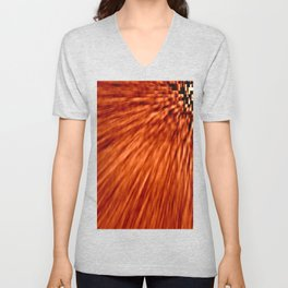 Burnt Orange Pixel Wind Unisex V-Neck