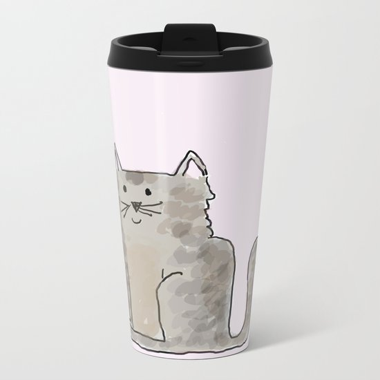 Cute and lovely cat Lupita Metal Travel Mug