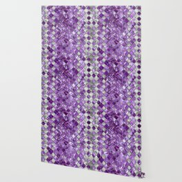 Quatrefoil Moroccan Pattern Amethyst and silver Wallpaper
