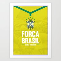 brazil Art Prints featuring Brazil by liamhohoho