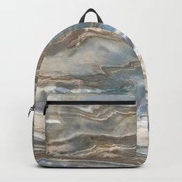Pearly Blue Swirl Marble Backpack