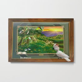 "Springtime Grazing in Napa Valley 24"" x 36"" oil over clay with illustrations of our rescued parrots Metal Print"