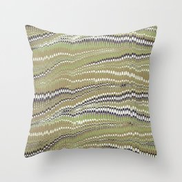 Electrified Ripples Olive Green Throw Pillow