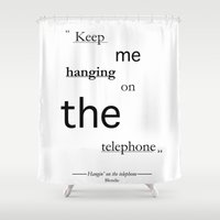 telephone Shower Curtains featuring Telephone by PintoQuiff