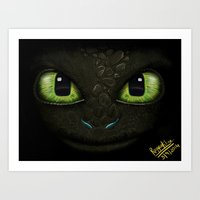 how to train your dragon Art Prints featuring Toothless - How to Train Your Dragon 2 by Rayyan