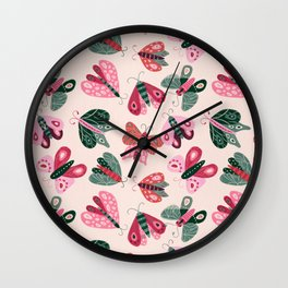 Moth Specimens – Pink & Turquoise Wall Clock