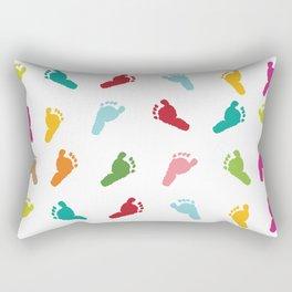 Colorful baby foot prints greeting card Rectangular Pillow