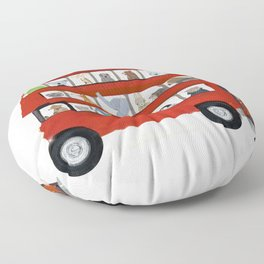 the big little red bus Floor Pillow
