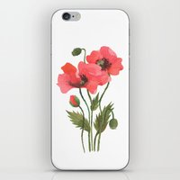 poppies iPhone & iPod Skins featuring POPPIES by Oana Befort