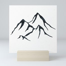 MOUNTAINS Black and White Mini Art Print