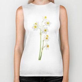 white narcissus watercolor Biker Tank