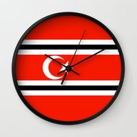 indonesia Wall Clocks featuring aceh indonesia ethnic flag by tony tudor