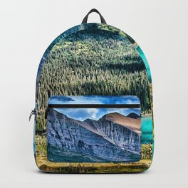 Grinnell Lake HDR beautiful nature Glacier National Park mountains forest USA America Backpack