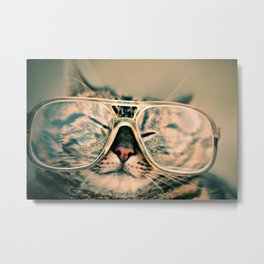 Sosy Cat with Glasses Metal Print