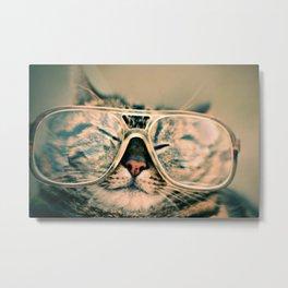 Sosy Cat with Glasses Metal Print