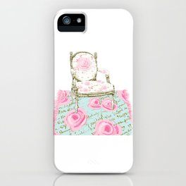 Shabby Chic Rug and French Chair iPhone Case