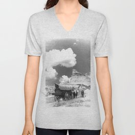 Conestoga Wagon on Oregon Trail  Unisex V-Neck