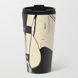 Erotic BDSM art, sexy kitten slave girl, kneeling tied with her leash, nude woman in submissive pose Travel Mug