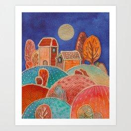 Watercolor landscape & line art 2 Art Print