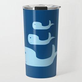 Three Cute Whales in Classic Blue Travel Mug