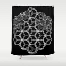 GEOMETRIC NATURE: COGNITIVE HEXAGON b/w Shower Curtain