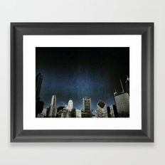 Chi town towers and midnight Framed Art Print