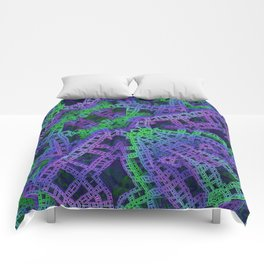 Green and purple film ribbons Comforters