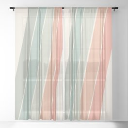 Trippin' - retro 70s socal minimal striped abstract art california surfing vintage Sheer Curtain