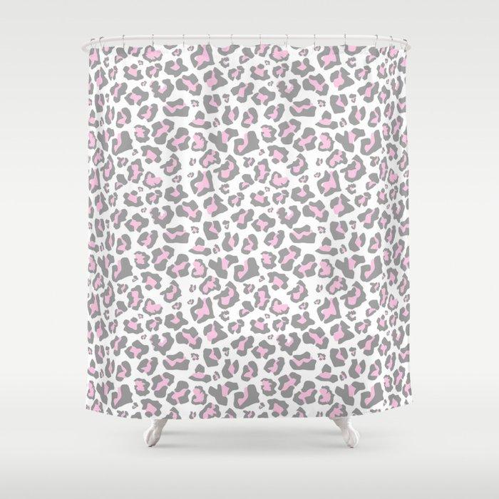 Pastel Pink Gray Vector Modern Cheetah Animal Print Shower Curtain