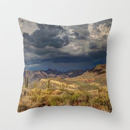 Arid Cactus Cloud Formation Dark Throw Pillow