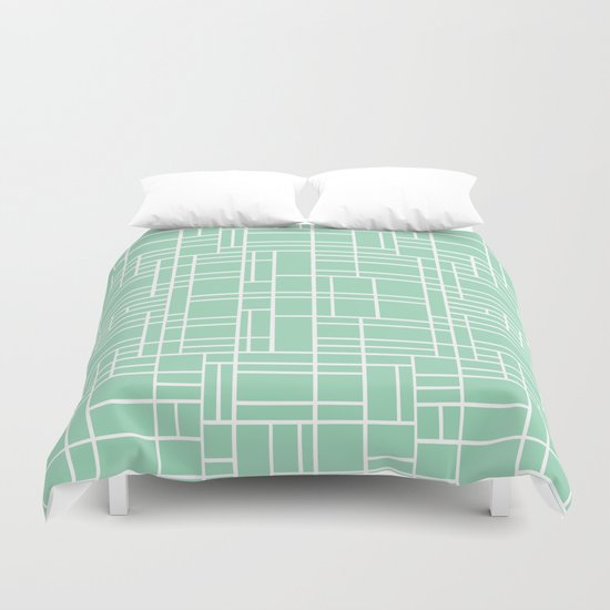 Map Outline Mint Duvet Cover
