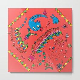 childish motifs red Metal Print