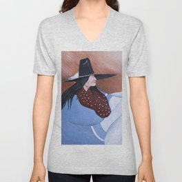 Native American Man with Blanket - Painting Unisex V-Neck