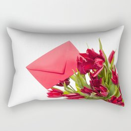 Tulips bouquet with red envelope Rectangular Pillow