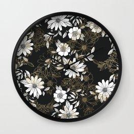Modern black white faux gold elegant floral Wall Clock