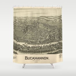 Aerial View of Buckhannon, West Virginia (1900) Shower Curtain