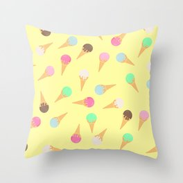 Colorful ice creams pattern Throw Pillow