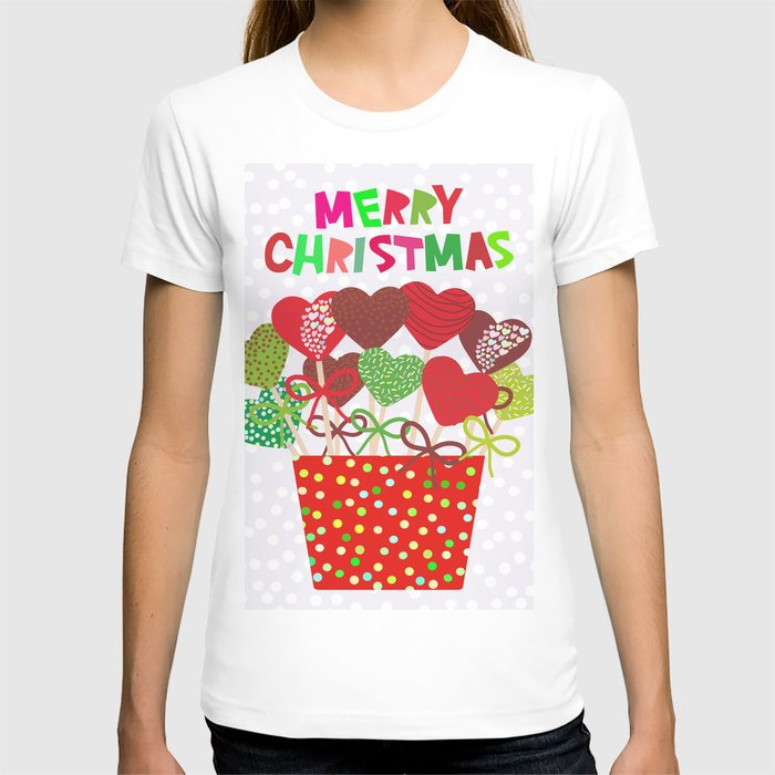 dd42ff4e1d1 Christmas design Cake pops set with bow gray background with snowflakes. T- shirt by ekaterinap