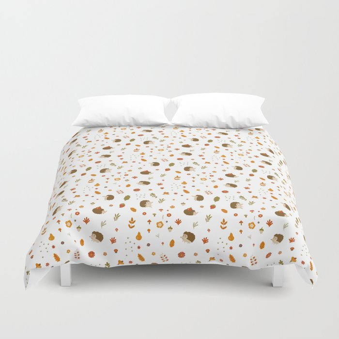 children hedgehog pattern, forest design Duvet Cover