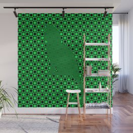 PATTERN GREEN/BLACK CAT Wall Mural