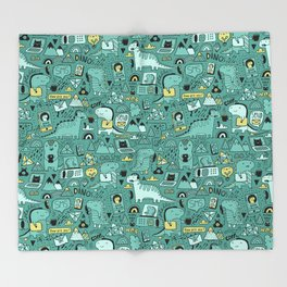 Communication Dinosaurs Throw Blanket