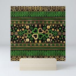 Lucky Shamrock Four-leaf Clover Green and Gold Mini Art Print