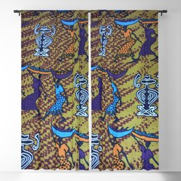 Ankara Print African Ladies Going to Market Blackout Curtain