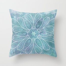 floral paisley star in light teal Throw Pillow